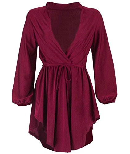 V Irregular Red Dress Wine Long Neck Deep Cocktail Jaycargogo Women's Sleeve wYZq11