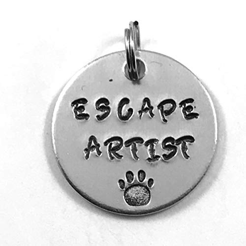 Pet Collar ID Tag Hand Stamped Escape Artist