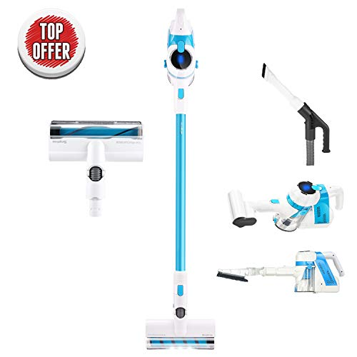 SIMPFREE Cordless Vacuum, Lightweight Cordless Stick Vacuum with LED Brush, Hand Vacuum for Carpet Hardfloor – 5 in 1 Vacuum Extra Accessories for Deep Clean, Electric Hose