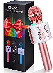 FISHOAKY Wireless Bluetooth Karaoke Microphone, 3 in 1 Portable Kids Karaoke Mic Player with Colorful LED and