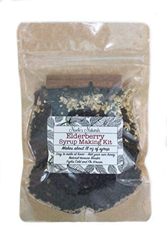 Elderberry Syrup Making Kit - Makes 18oz - DIY Add Your Own Honey - Black Elderberries - Organic Spices - Cloves - Ginger - Cinnamon Stick