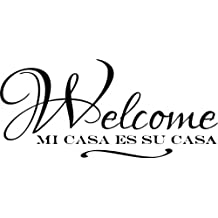 "Design with Vinyl – CA 2015 BS 310 ""Spanish Welcome Mi Casa Es Su Casa Text Lettering Sign"" Wall Decal, 12-Inch by 24-Inch, Black"