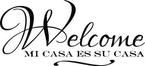 Top Selling Decals - Prices Reduced : Best Selling Cling Transfer : Spanish Quote Welcome mi casa ES su casa Text Lettering Sign Wall Sticker Size : 12 Inches X 24 Inches - 22 Colors Available