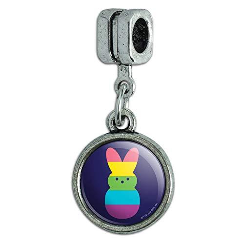 GRAPHICS & MORE Rainbow Striped Bunny Peep Italian European Style Bracelet Charm Bead