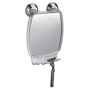 iDesign Forma Suction Shower Shaving Mirror with Razor Holder for Bathroom or Shower, Fog-Free Mirror with Strong Power Lock, Clear