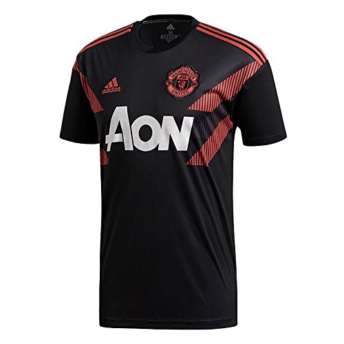 adidas 2018-2019 Man Utd Pre-Match Training Football Soccer T-Shirt Jersey (Black)