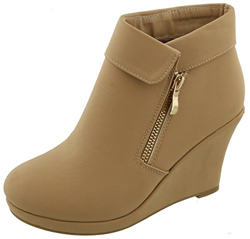 Top Moda Women's Fold Over Cuff Side Zip Closed Toe Wedge Ankle Bootie (7 B(M) US, Tan)
