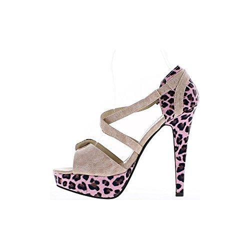 Pattino 5 Con 13 Cm Donna Tacco Anteriore Colorata E Scarpe Bi Rosa xqBXq1