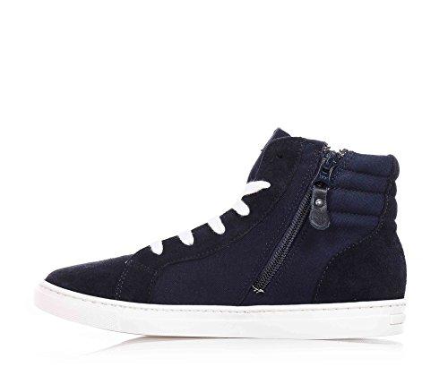 ARMANI - Blaue Sneakers mit Schnürsenkel, aus Stoff und Wildleder, Jungen