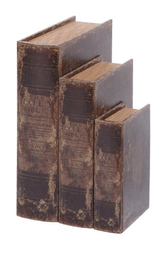 Faux Leather Book Boxes (Set Of 3), (Tan Ancient Treasures)
