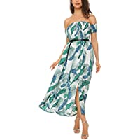 Mixfeer Women's Off The Shoulder Split Floral Flowy Party Maxi Boho Dress