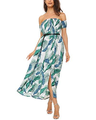 Mixfeer Women's Off The Shoulder Split Floral Print Flowy Party Maxi Dress Boho Dress White