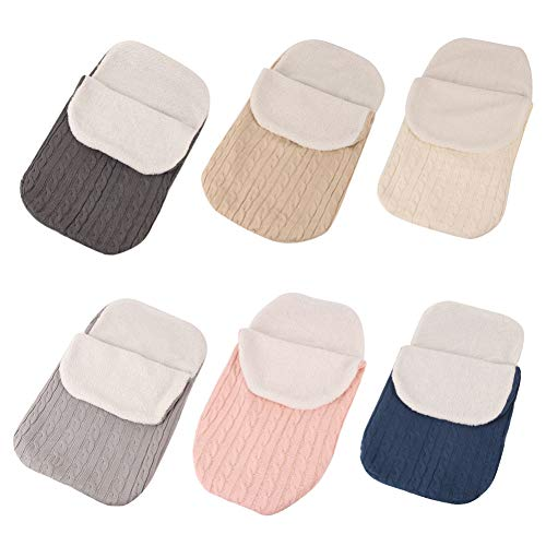 Baby Infant Swaddle Wrap Wool Swaddling Blanket Colorful Knit Button Sleeping Bag Cálido y Cómodo para cochecitos, cunas o sillas de paseo