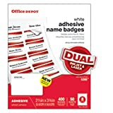 Office Depot Name Badges, White, Pack Of 400, OD98844