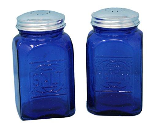 Cobalt Glass Salt (Rhyne And Son Square Embossed Reproduction Style Salt and Pepper Shaker Set (Cobalt Blue))