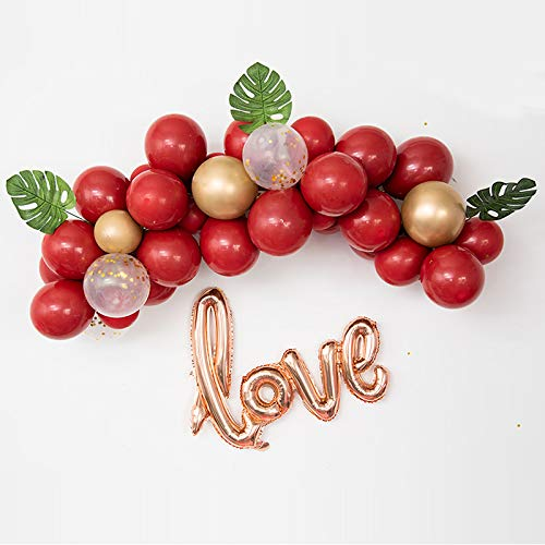 Balloon Wedding Love Garland Kit, Latex Balloon Garland with 40 inch Love Foil Balloons, Gold Metallic Balloons, Artificial Leaves for Bridal Showers Wedding Engagement Party Backdrop(Red) ()