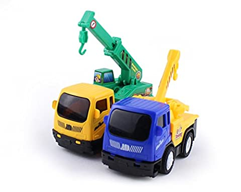 Toy4U 1:64 Car Toys for Boys, Push and Go Friction Powered Car Toys, Construction Toy Truck Set, Truck Crane, Tow - Case Front End Loaders