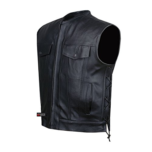 SOA Motorcycle Sons of Anarchy ARMOR Leather Open Collar Leather Biker Vest XL]()