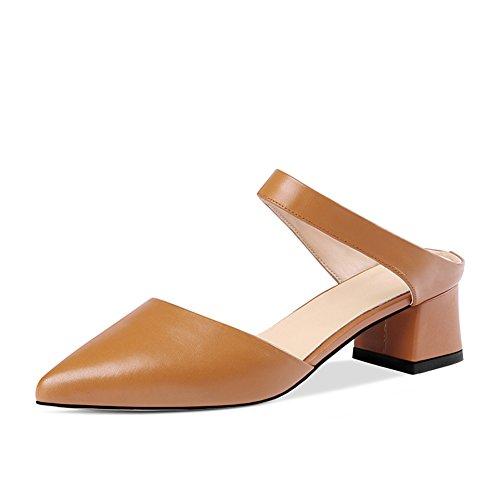 Cm Kvinde L Zcjb Eu39 Lavvandede farve 5 Sko Munden Uk5 Størrelse Vild Baotou Khaki Forår Læder Sandaler 24 Sommer FUHUpqx