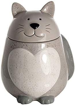 SPOTTED DOG GIFT COMPANY Keksdose aus Porzellan, groß Vorratsdose mit Deckel, Cookie Jar Katze und Herzform (grau) - Geschenk für Katzenliebhaber Katzenfreunde