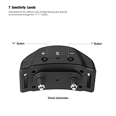 Jellas Dog No Bark Collar Electric Anti Bark Shock Control with 7 Levels Adjustable Sensitivity Control for Small Dog and Large Dog, 3 FREE Battery Replacement, Humane for 15-120 Pounds Dogs (Black)