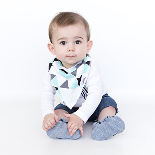Baby Bandana Bib Set of 4, Super Absorbent Organic Drool & Teething Bibs for Boys & Girls by Matimati (Mint & Gray) by Matimati Baby (Image #1)