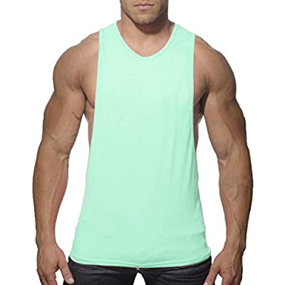 YiZYiF Men's Cut out Stringer Workout T-shirt Muscle Tee Bodybuilding Tank Top