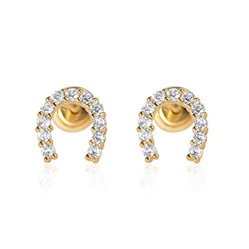 10k Gold Horse - 10k YG Horse Shoe Earrings 3653 12075