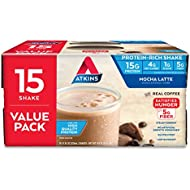 Atkins Gluten Free Protein-Rich Shake, Mocha Latte, Keto Friendly, 15 Count