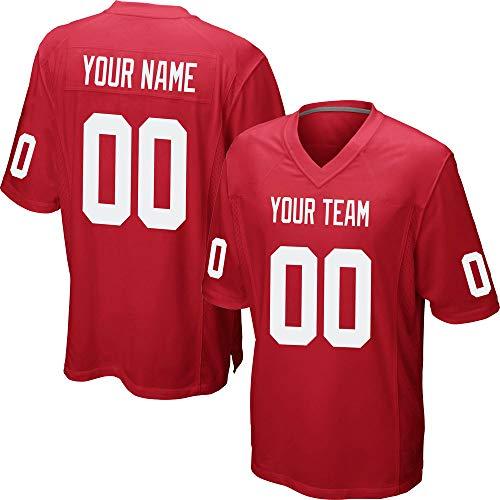 Custom Men's Red Mesh Football Jersey Stitched Team Name and Your Numbers,White Size 3XL