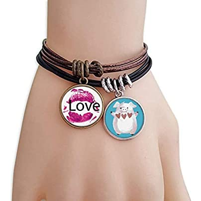 master DIY Valentine s Day Love Pink Lip Bracelet Rope Wristband Pig Heart Love Set Estimated Price -