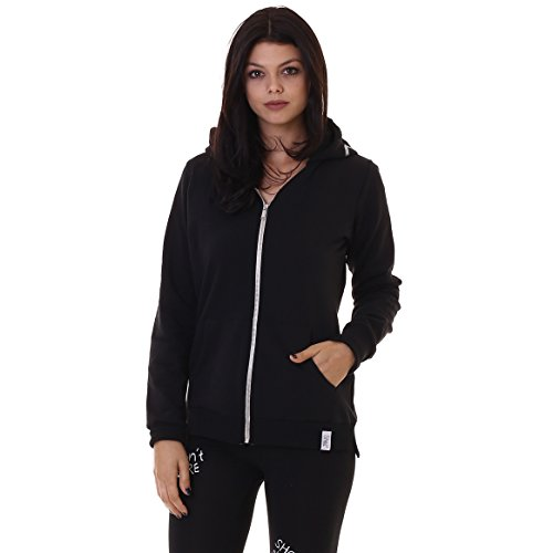 Shoeshine Sweatshirt cappzip Slits Women St. Glitt Black, black
