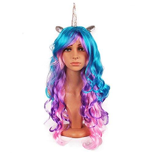Rainbow Unicorn Halloween Custome Adult (Aqua Bella Costumes Wig)