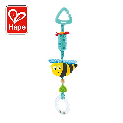 Hape Bumblebee Pram Rattle | Clip-On Rattle Pram Bassinet and Pushchair Baby Toy - Suitable for Newborns