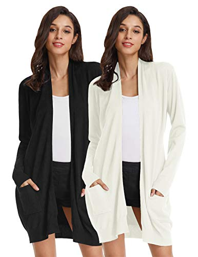 Women's Long Sleeve Draped Open Front Cardigan for Office (2XL,2 Pack Black Ivory)