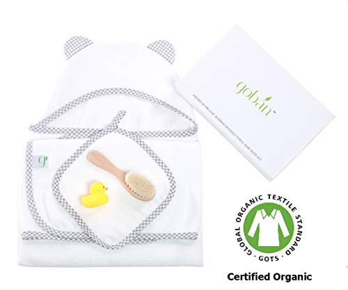 (Premium Organic Bamboo Hooded Towel Baby Bath Set by gobán | Ultra Soft Hooded Towel Baby Gift Set | Infant and Toddler | Boys and Girls | Includes Towel and Washcloth, Rubber Duck, Baby Brush)