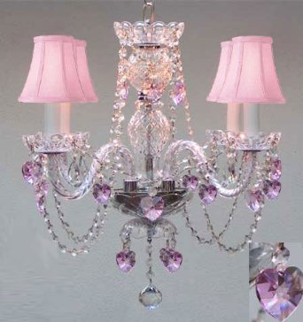 "Chandelier Lighting W/ Crystal Pink Shades & Hearts! H 17"" - Perfect For Kid's And Girls Bedroom! W 17"""