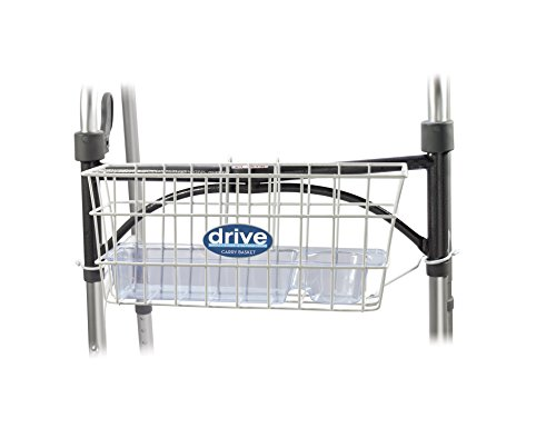 Drive Medical Walker Basket  White  With Plastic Cup Holder