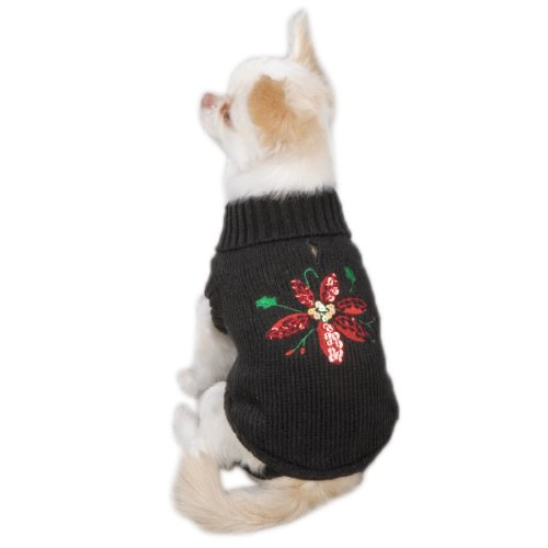 Zack & Zoey Acrylic Poinsettia Dog Sweater, X-Small, Black