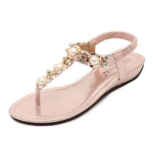 APTRO Damen Sandalen Sommer Schuhe Strandschuhe Flach Zehentrenner Sandalen Für Mädchen Rosa