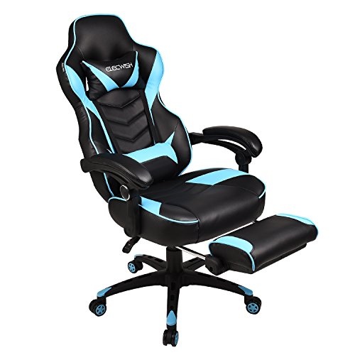 Office Racing Video Gaming Chair Executive Swivel PU Leather Seat High Back Chair Footrest Lumbar Support Headrest (Sky Blue)