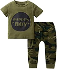 i-Auto Time Newborn Baby Boy Girl Camouflage Short Sleeve T-Shirt+Long Pants Outfit Clothes Set