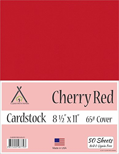 Cherry Red Cardstock - 8.5 x 11 inch - 65Lb Cover - 50 Sheets by Clear Path Paper