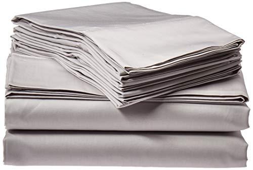 Tribeca Living Egyptian Cotton Sateen 6-Piece 600 Thread Count Deep Pocket Sheet Set, Queen, Silver Grey (Renewed)