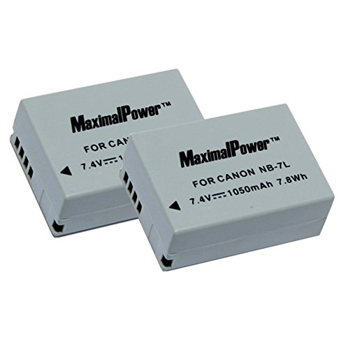 Maximal Power Db Can Nb7l Combo  2 X Nb7l Battery For Canon Powershot Sx30 Is  G12  Sx30is  G11  G10 And Cannon Cb 2Lz   Light Gray