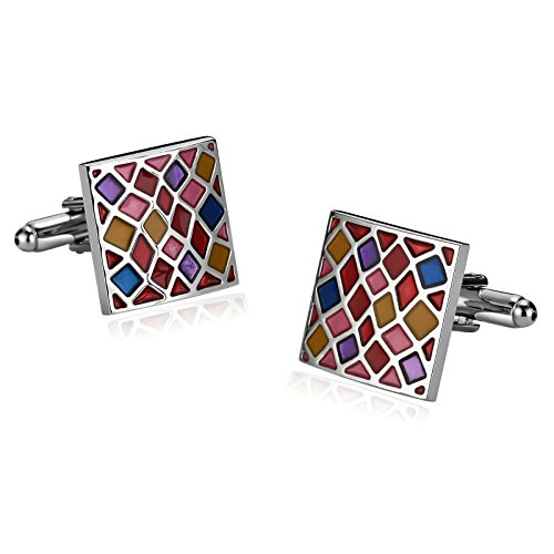 Aooaz Cufflinks For Men Stainless Steel Cufflinks Square Rainbow Lattice Epoxy Colorful With Gift Box