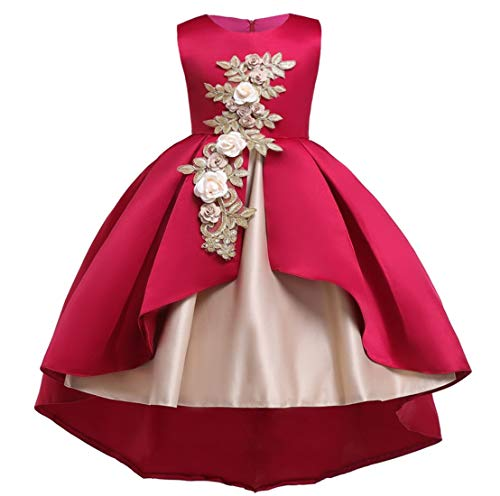 Flower Little Big Girls Lace Bridesmaid Dress Kids Wedding Party Birthday Pageant Toddler Princess Formal Dresses -