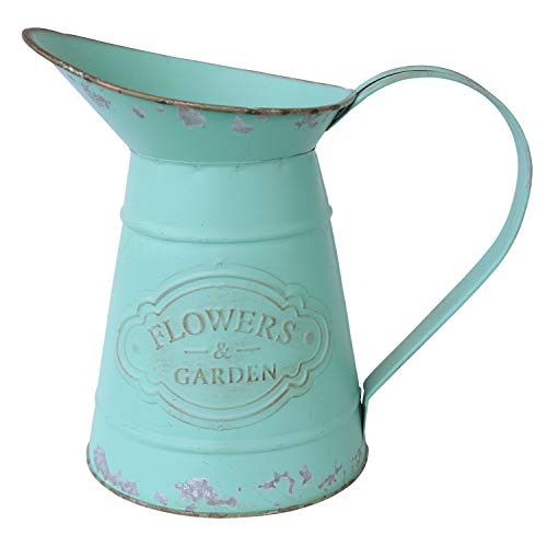 APSOONSELL Shabby Chic Rustic Style Metal Jug Pitcher Flower Vase Watering Can for Home Garden Decoration Large ()