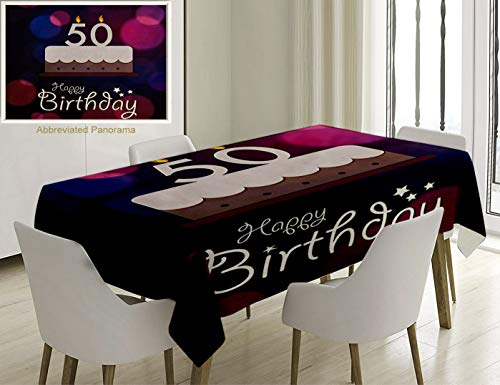 Unique Custom Cotton And Linen Blend Tablecloth 50Th Birthday Decorations Color Spots Graphic Cake Number Candlesticks Cute Lettering Blue PTablecovers For Rectangle Tables, Small Size 48 x 24 Inches