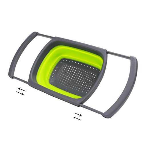 CoZroom Green & Grey Collapsible Colander Strainer with Handles Together with a Green stainless Steel Dishwashing Brush Kitchen Helper